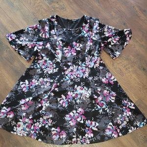 Torrid Size 16 Black Floral Cut Out A-line Dress
